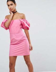 Платье мини с открытыми плечами и пышными рукавами ASOS - Розовый