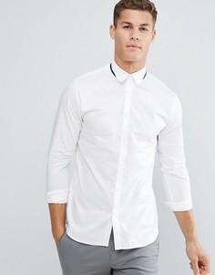 Приталенная рубашка с отделкой на воротнике Selected Homme - Белый