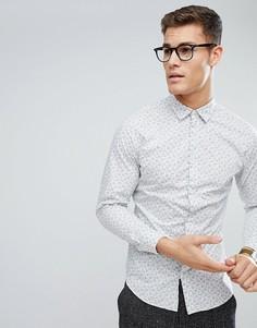 Приталенная рубашка с цветочным принтом Selected Homme - Белый