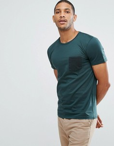 Футболка в полоску с контрастным карманом Selected Homme - Зеленый