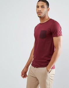 Футболка в полоску с контрастным карманом Selected Homme - Красный