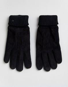 Перчатки с кожаной нашивкой Esprit - Черный