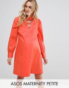 Платье с решеткой из лямок ASOS Maternity PETITE - Оранжевый