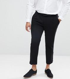 Черные укороченные брюки скинни с серебристыми молниями ASOS PLUS - Черный