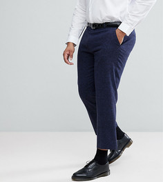 Темно-синие фактурные укороченные брюки слим в строгом стиле ASOS PLUS - Темно-синий