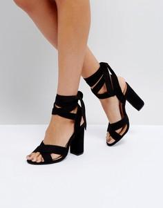 Босоножки на блочном каблуке с завязкой Truffle Collection - Черный