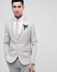 Блейзер скинни из 100% мериносовой шерсти ASOS WEDDING - Серый