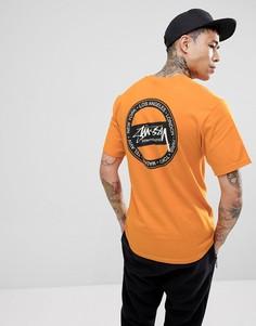 Оранжевая футболка с принтом на спине Stussy - Оранжевый