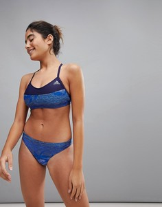 Синий купальник бикини с принтом adidas - Синий