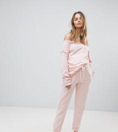 Джоггеры и свитшот с открытыми плечами и необработанными краями ASOS Maternity LOUNGE - Розовый
