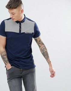 Поло с геометрическим принтом на кармане Brave Soul - Темно-синий