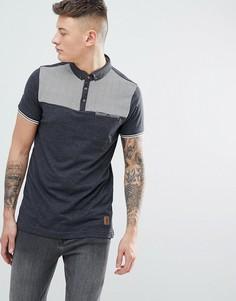 Поло с геометрическим принтом на кармане Brave Soul - Серый