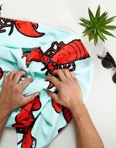 Полотенце с принтом омара ASOS - Синий
