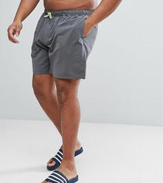 Темно-серые шорты для плавания средней длины с неоново-желтым шнурком ASOS PLUS - Серый