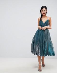 Платье миди металлик из тюля ASOS - Синий