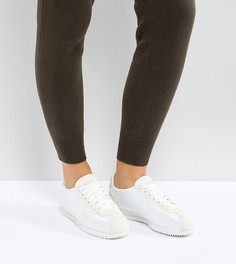 Атласные кроссовки цвета хаки Nike Cortez - Кремовый