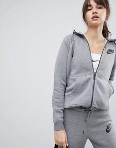 Худи серого цвета на молнии Nike Rally - Серый