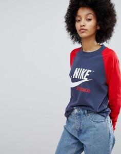 Красная футболка с рукавами реглан Nike Archive - Красный