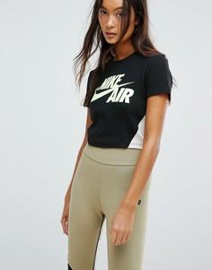 Укороченная футболка (черный/неоновый) Nike Cropped - Черный