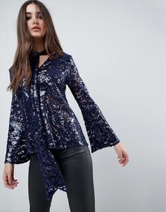 Блузка с завязкой у ворота, длинными рукавами и пайетками Closet - Синий