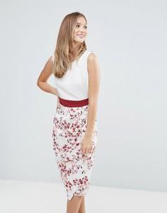 Платье с цветочным принтом и драпированной юбкой Closet - Мульти