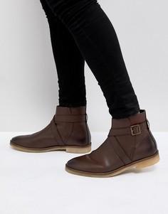 Коричневые кожаные ботинки челси с ремешками ASOS - Коричневый
