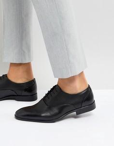 Черные кожаные оксфордские туфли с тисненой вставкой ASOS - Черный