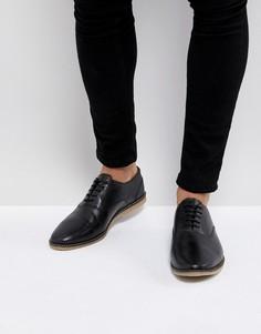 Черные повседневные кожаные туфли на шнуровке с перфорацией ASOS - Черный