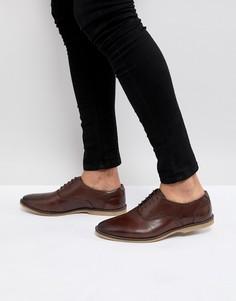 Светло-коричневые повседневные кожаные туфли на шнуровке с перфорацией ASOS - Коричневый