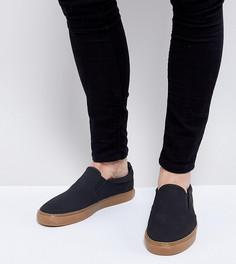 Черные кеды-слипоны для широкой стопы на каучуковой подошве ASOS - Черный