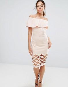 Розовое облегающее платье с открытыми плечами AX Paris - Розовый