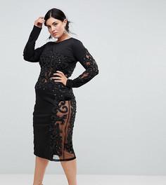 Декорированное платье с длинными рукавами A Star Is Born Plus - Черный