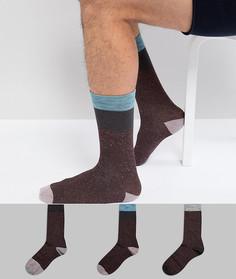 3 пары бордовых носков в крапинку с контрастной отделкой ASOS - Мульти