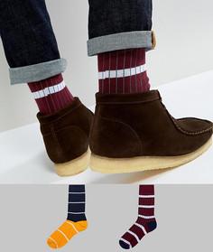 2 пары носков в рубчик с полосками ASOS - Мульти