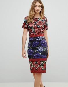 Платье-футляр с вырезом лодочкой и цветочным принтом City Goddess - Темно-синий