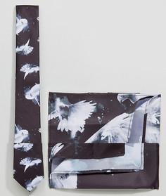 Галстук и платок для нагрудного кармана с принтом голубей Religion - Черный