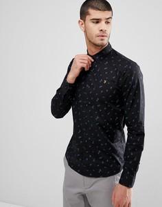 Черная рубашка узкого кроя с принтом Farah Muybridge - Черный