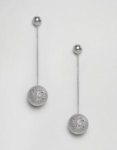 Серьги-подвески с блестящими шарами Ashiana - Серебряный