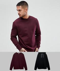 Комплект из бордового свитшота и худи черного цвета ASOS - Мульти