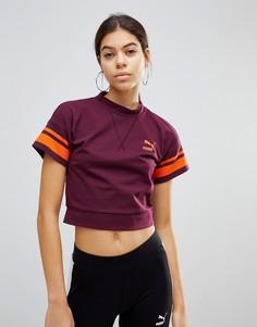 Бордовая футболка с окантовкой Puma - Красный