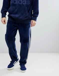 Темно-синие велюровые джоггеры adidas Originals adicolor CW4916 - Темно-синий