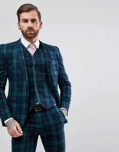 Приталенный пиджак в шотландскую клетку ASOS - Зеленый