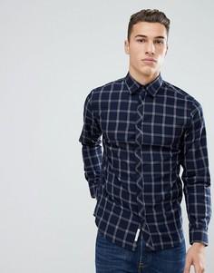 Узкая рубашка в клетку Jack & Jones - Темно-синий
