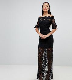 Кружевное платье макси с открытыми плечами и оборками на рукавах Paper Dolls Tall - Черный