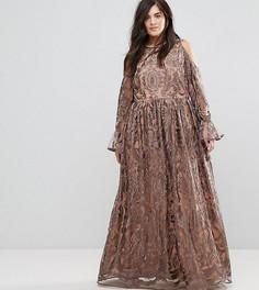 Платье макси с вырезами на плечах и вышивкой Truly You - Серый