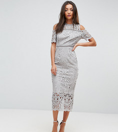 Кружевное премиум-платье макси с открытыми плечами True Decadence Tall - Серый