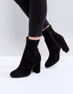 Замшевые ботинки на каблуке Dune London Oliah - Черный