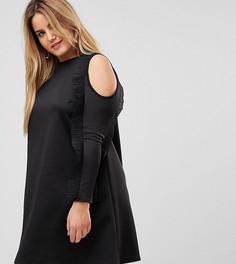 Платье А-силуэта с открытыми плечами и оборками Club L Plus - Черный