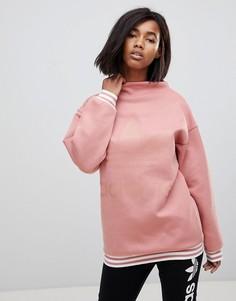 Розовый свитшот с высоким воротом и отделкой с тремя полосками adidas Originals adicolor - Розовый