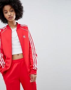Красная спортивная куртка с тремя полосами adidas Originals adicolor - Красный